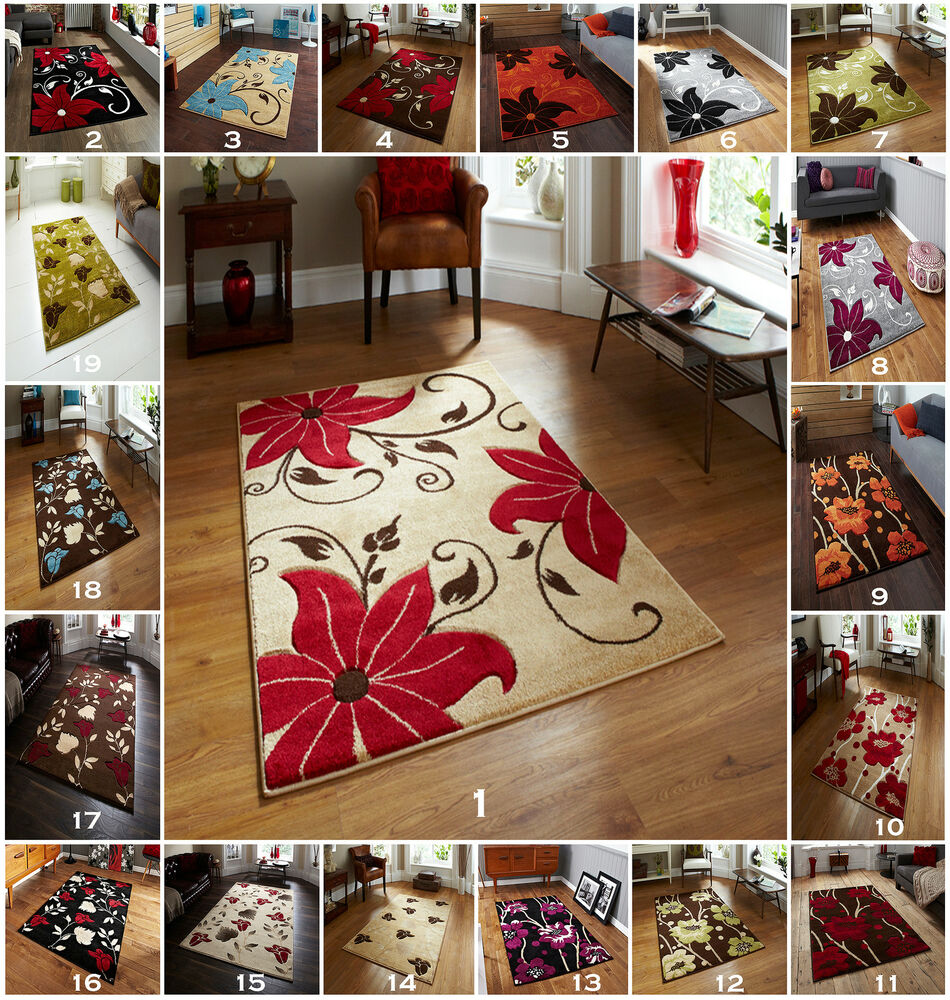 Woolrich Blue And White Floral Rug: LARGE BEIGE BLACK BLUE BROWN GREEN GREY PURPLE
