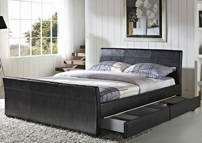 4 Drawers Faux Leather Storage Sleigh Bed Double King Size