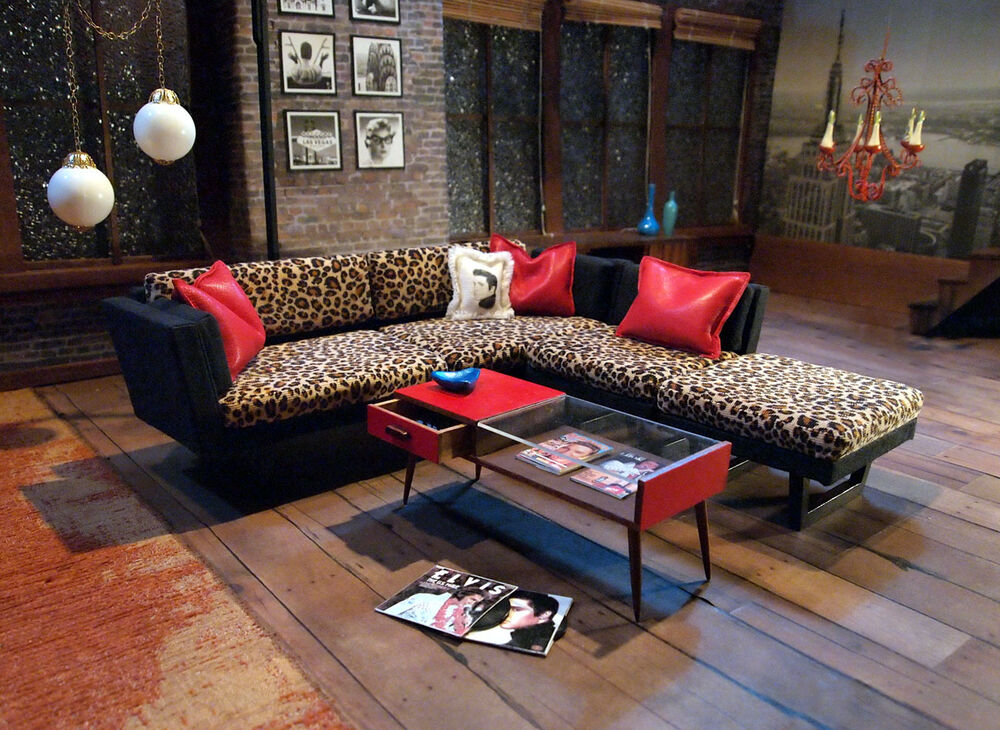 Mid Century Modern Retro Leopard Sectional Sofa W Table Elvis Albums 1 6 Scale Ebay