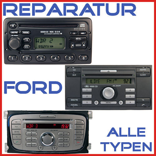 ford autoradio reparatur alle typen cd 6000 4500 6006 ebay. Black Bedroom Furniture Sets. Home Design Ideas