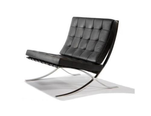 Eames black barcelona single leather sofa arm chair for Designer sofa replica