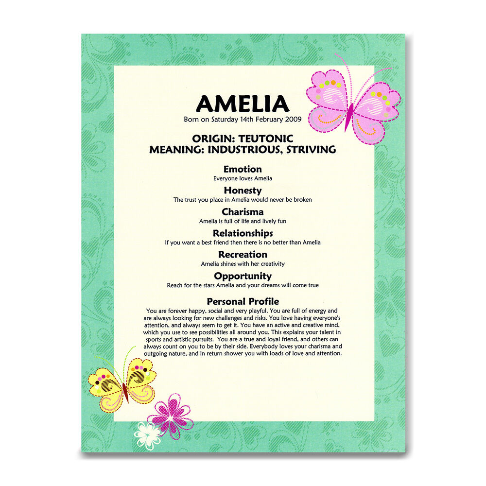 NAME MEANING CERTIFICATE Newborn Baby Girl Gift