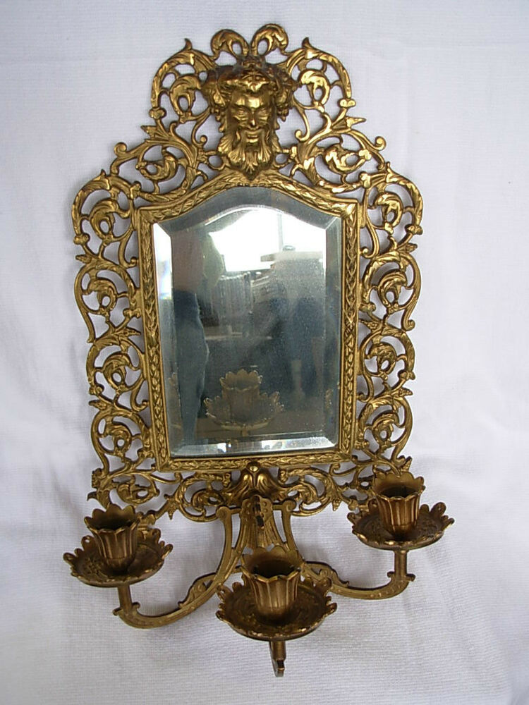 Bradley Hubbard Antique Mirror With Candle Sticks Ebay