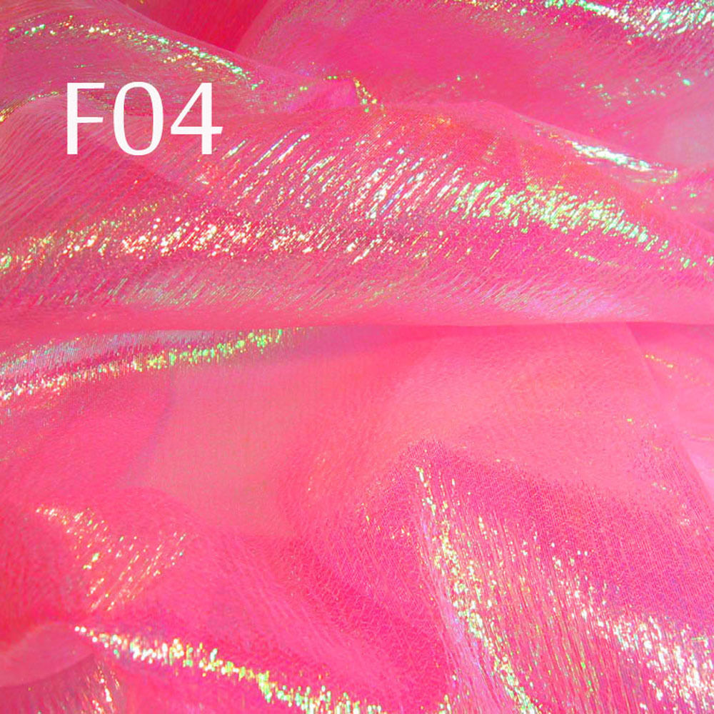 F04 Per Yard Peach Pink W Lime Shiny Iridescent Sheer