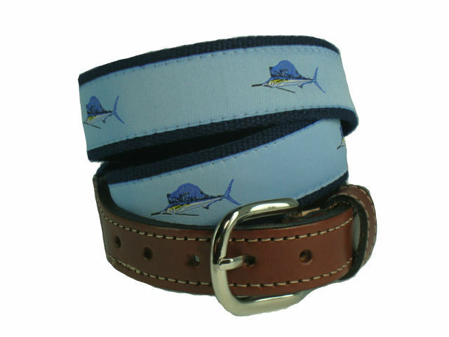 mens embroidered leather canvas fishing belt gt sailfish