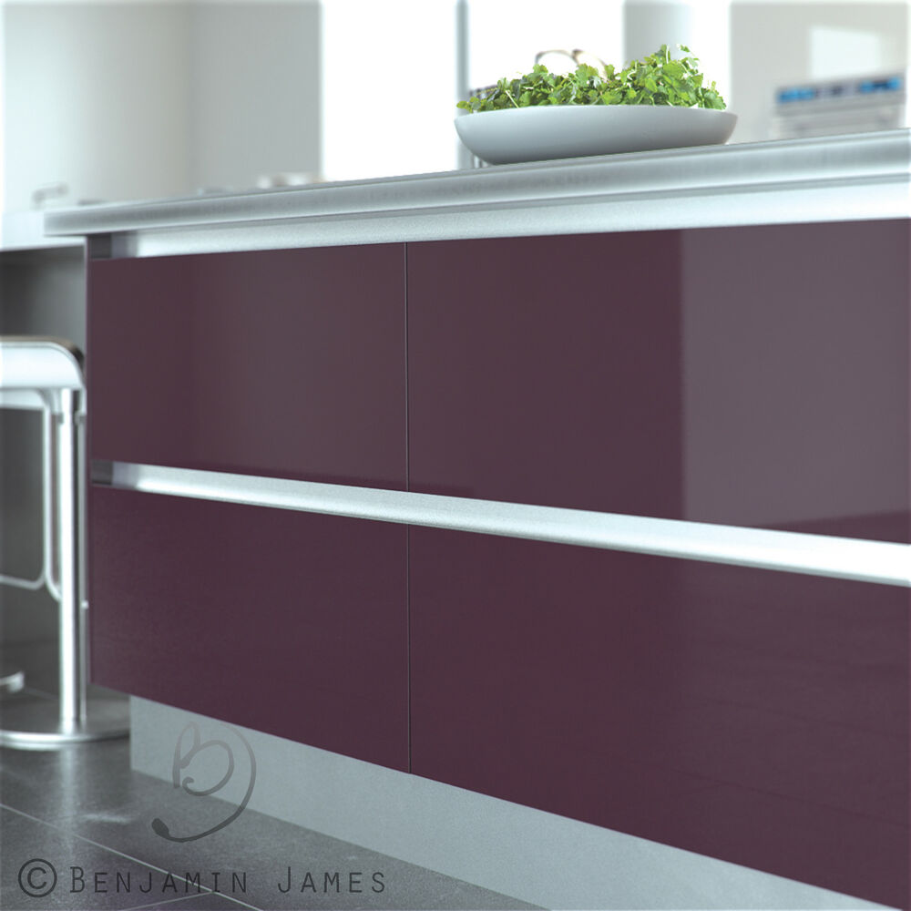 Handleless Rail Top Fit Satin Finish Ultra Modern Kitchen Door Ebay