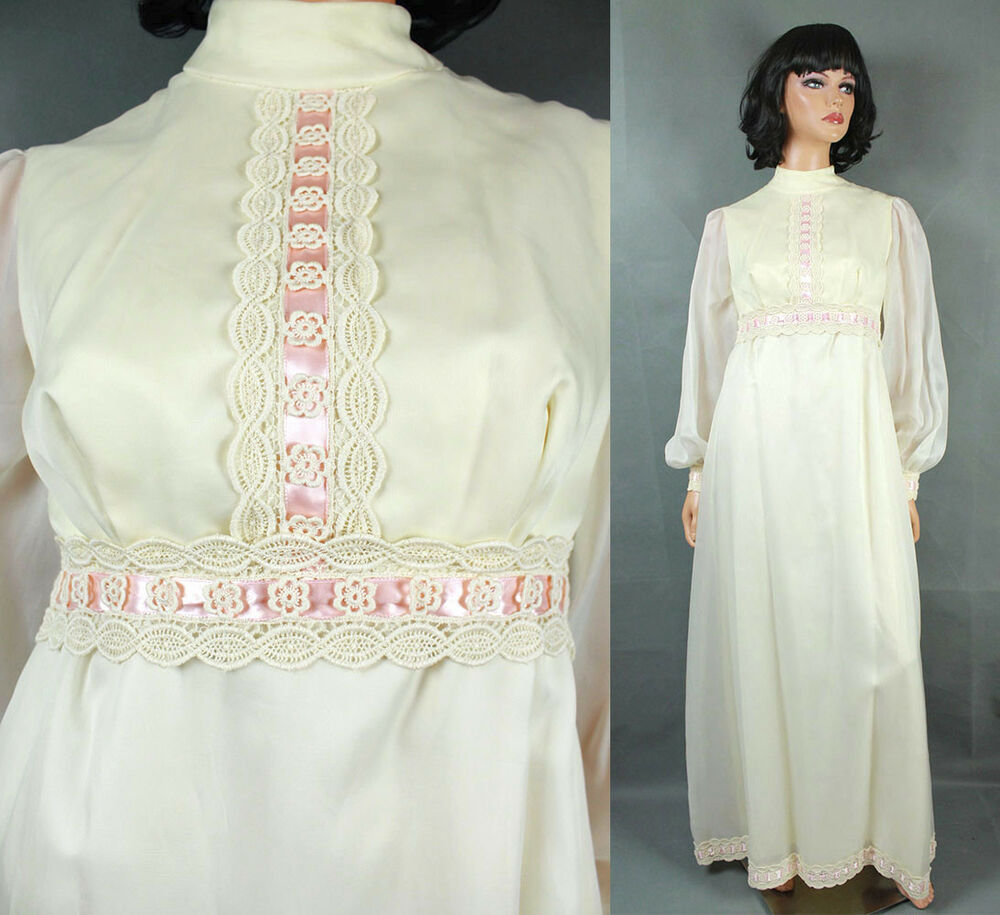 Vintage wedding gown xs 60s 70s hippie dress ivory white for Vintage wedding dress 60s