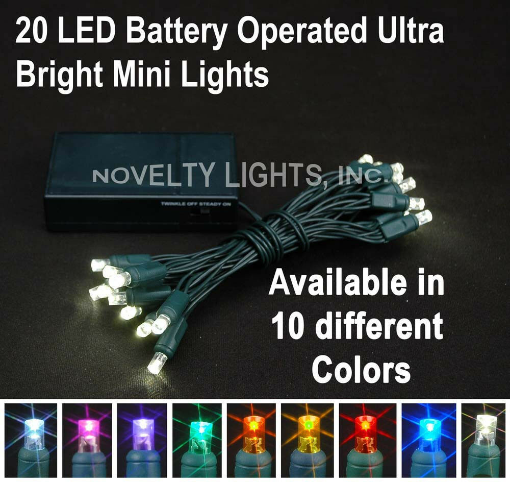 novelty lights 20 battery powered christmas led mini light set green