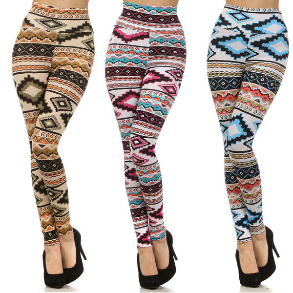 New ! HIGH WAISTED Colorful AZTEC Tribal Printed Fashion ...