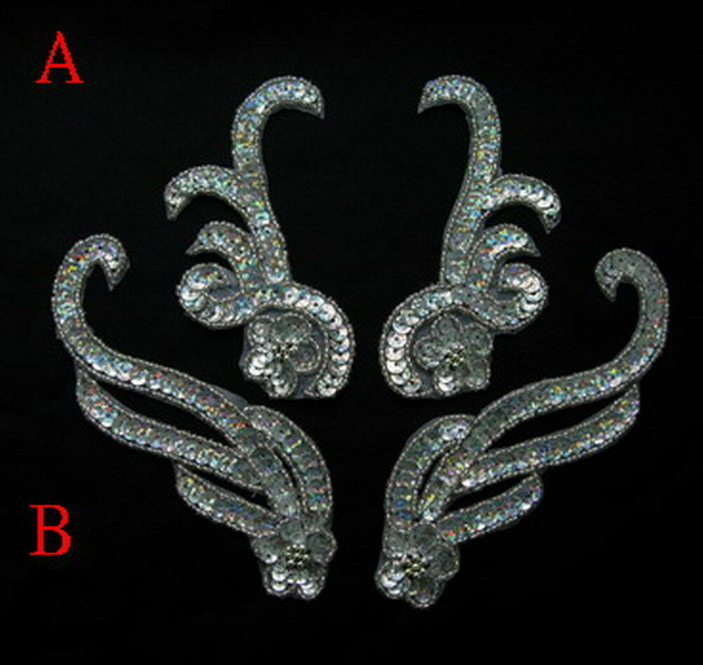 Hologram Silvers: LR223 Floral Mirror Pair Sequin Beaded Applique Hologram