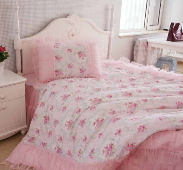 Girl princess shabby chic floral pink duvet quilt for Shabby chic bedspreads comforters