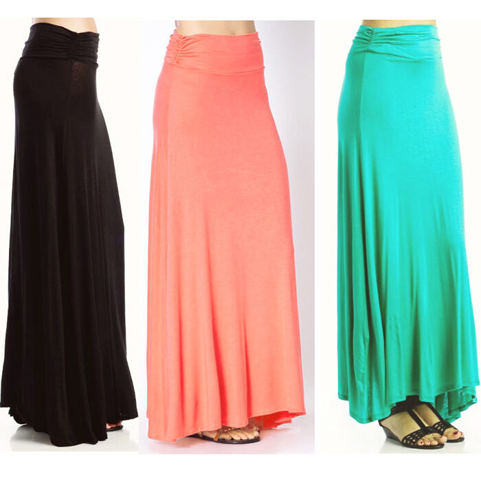 popular trends high waisted classic color maxi skirt