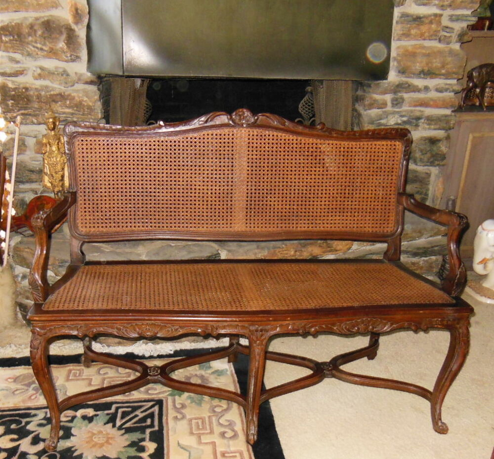 Country French Style Cane Settee Love Seat Bench Cane Seat