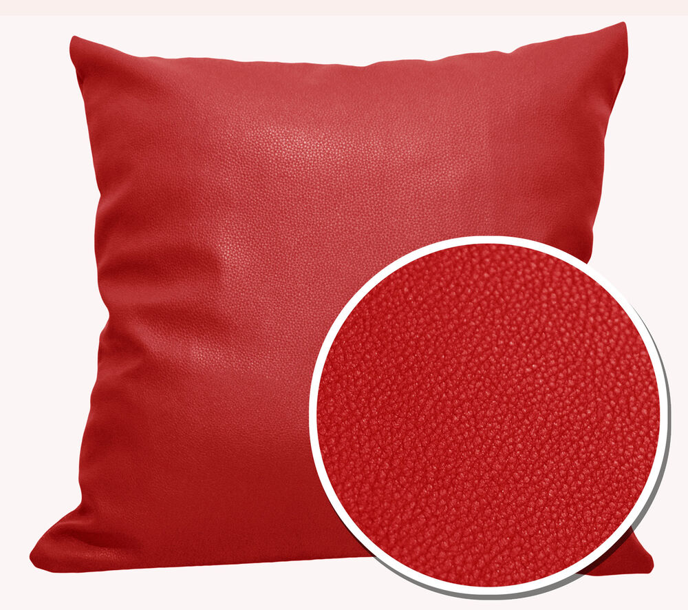Pb309a Bright Red Faux Leather Skin Soft Cushion Cover