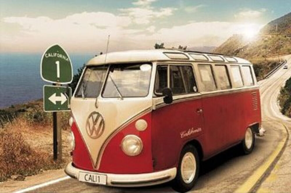 1961 vw bus volkswagen california route 1 art poster print. Black Bedroom Furniture Sets. Home Design Ideas