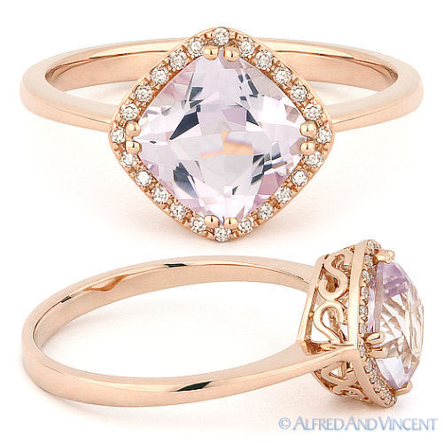 1 52ct Cushion Cut Pink Amethyst & Diamond Halo Engagement Ring in 14k Ro