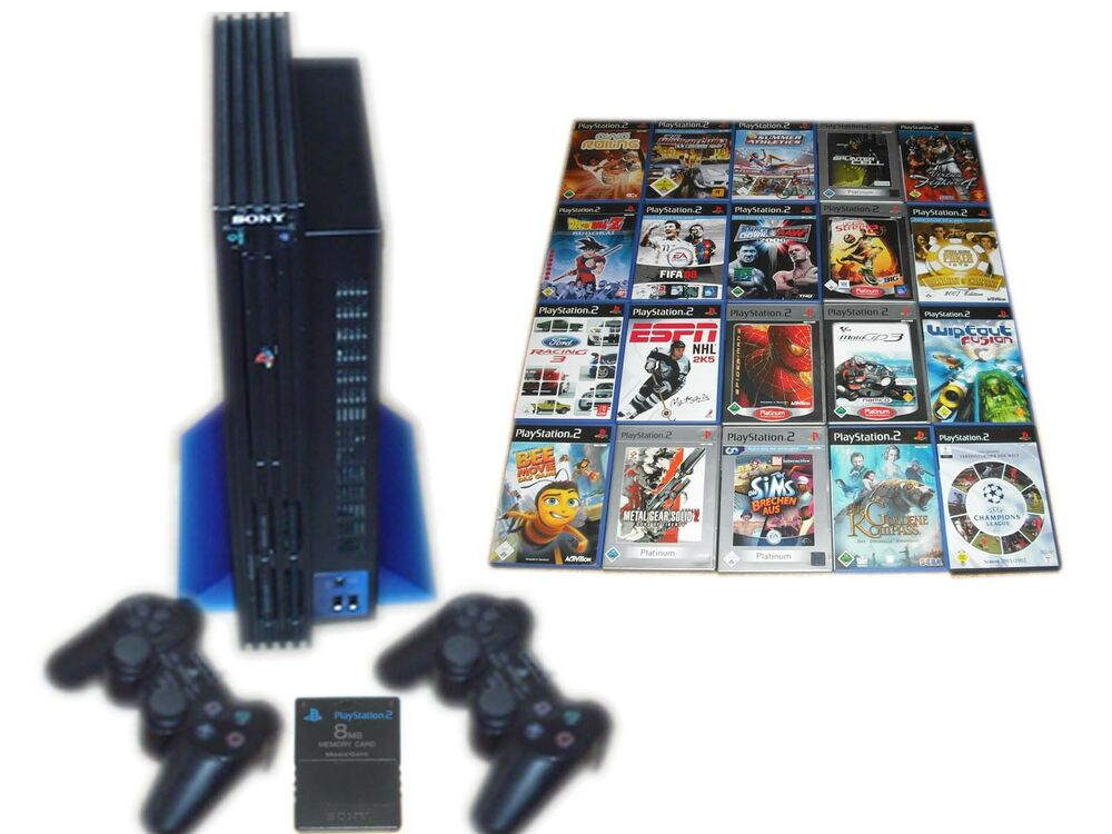 sony ps2 konsole 2 contr mc 5 spiele gratis. Black Bedroom Furniture Sets. Home Design Ideas