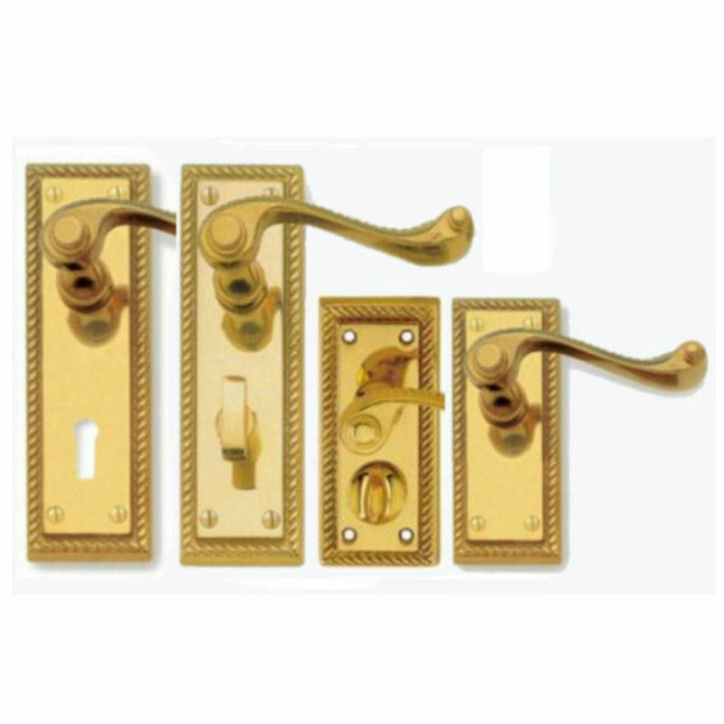 Polished brass georgian door handles lever lock latch for Brass bathroom door handles with lock