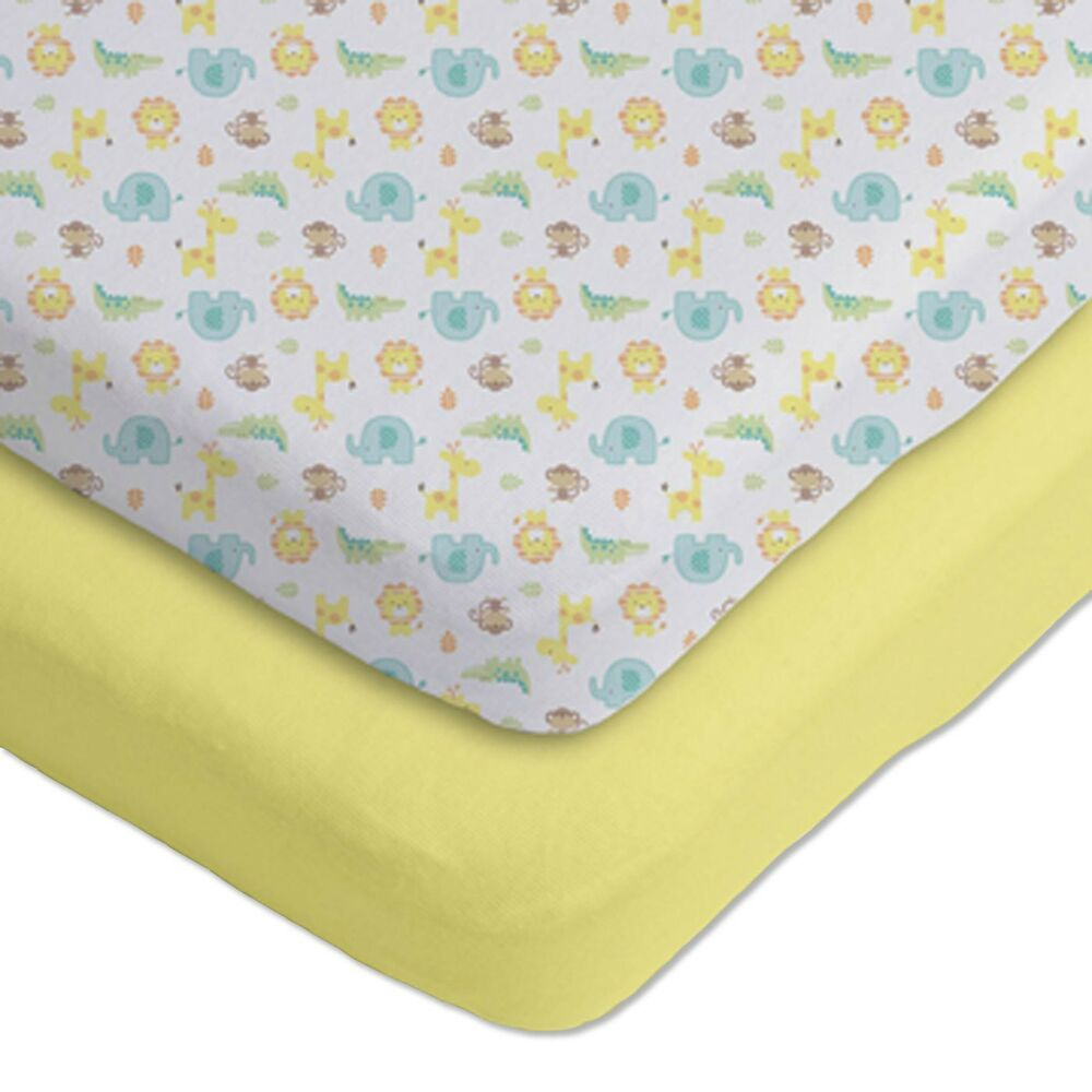 gerber 2 pack cotton knit fitted crib sheets yellow. Black Bedroom Furniture Sets. Home Design Ideas