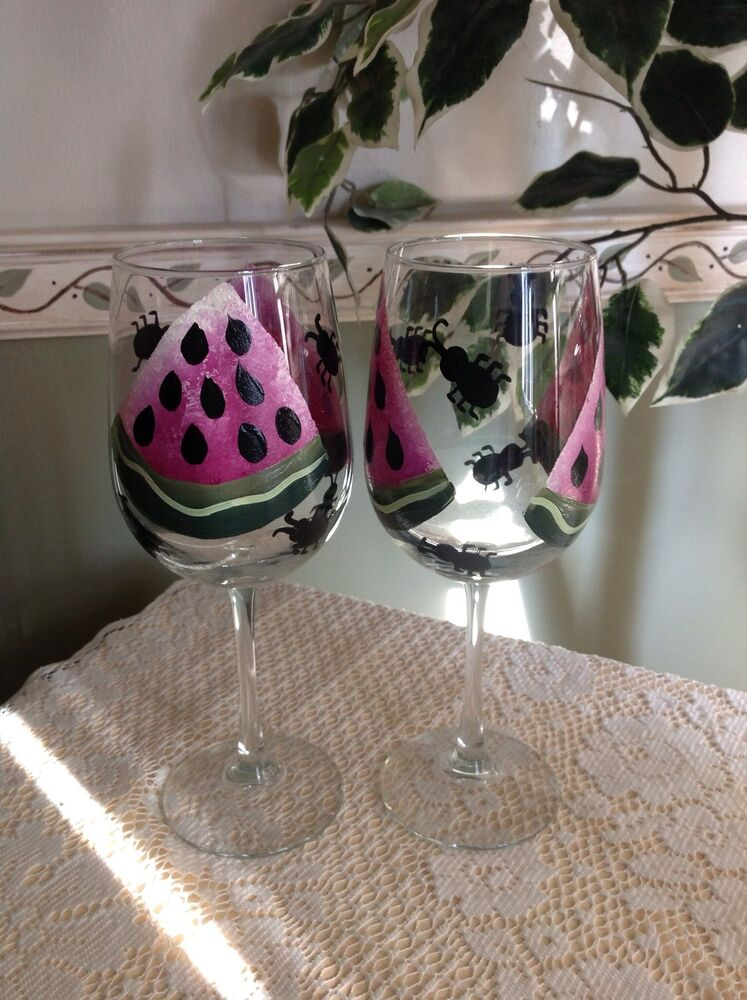 Hand Painted Watermelon Slices And Aunt Wine Glasses Set