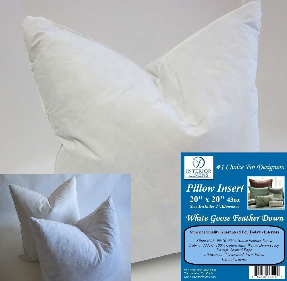 2 20 x 20 pillow insert 43oz white goose down 2 oversized firm filled ebay. Black Bedroom Furniture Sets. Home Design Ideas