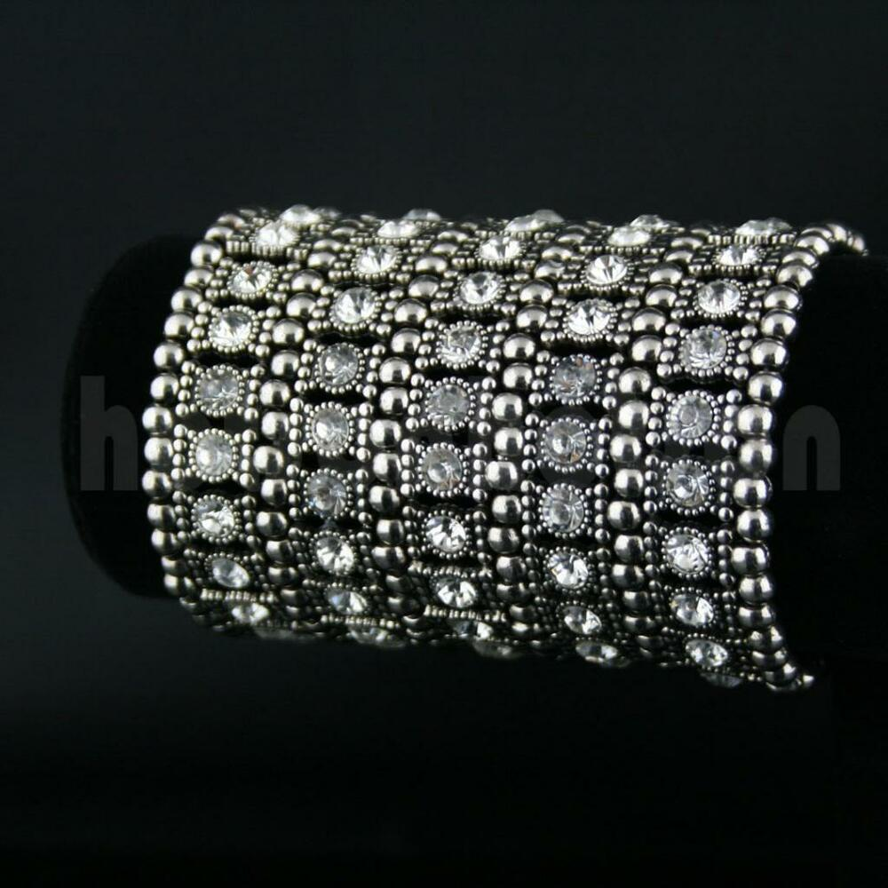 multi row diamante rhinestone bridal bronze bangle