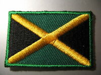 JAMAICA -  Jamaican Flag SMALL IRON-ON PATCH 3 x 4.5cm - Embriodered