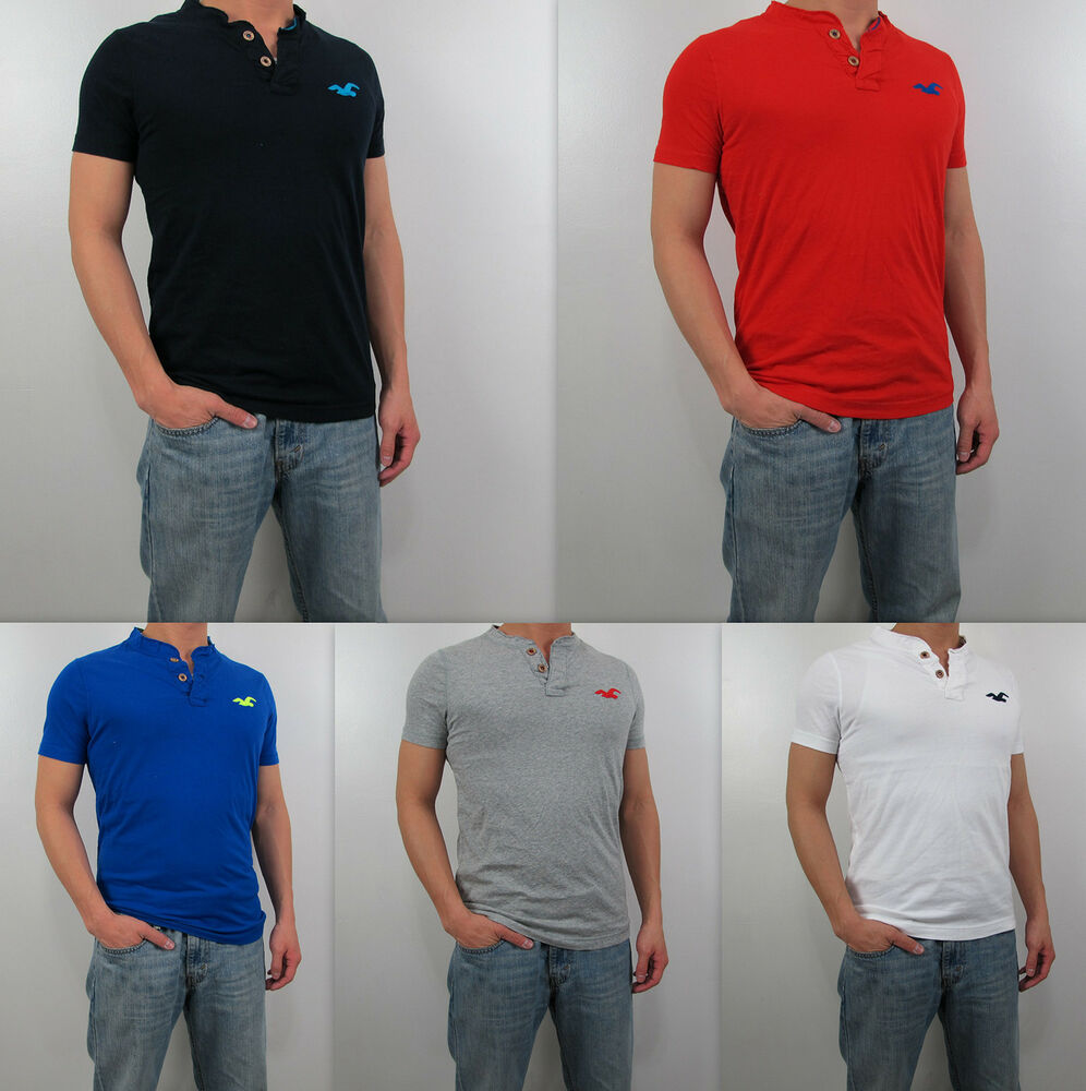 Nwt hollister hco 2013 men muscle slim fit malibu henley t for Mens xl tall henley shirts