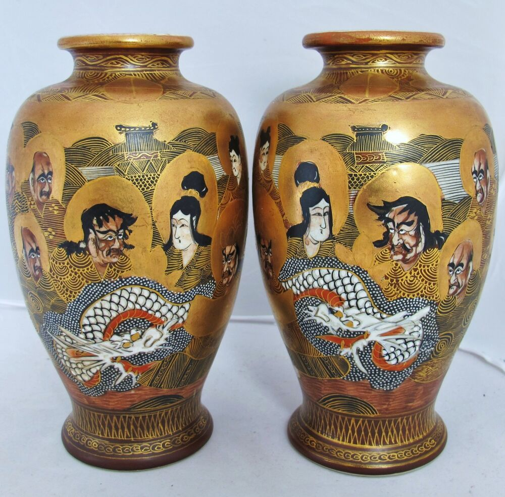 7 4 Quot Pair Of Signed Antique Meiji Japanese Satsuma Vases With Dragons Amp Arhats Ebay