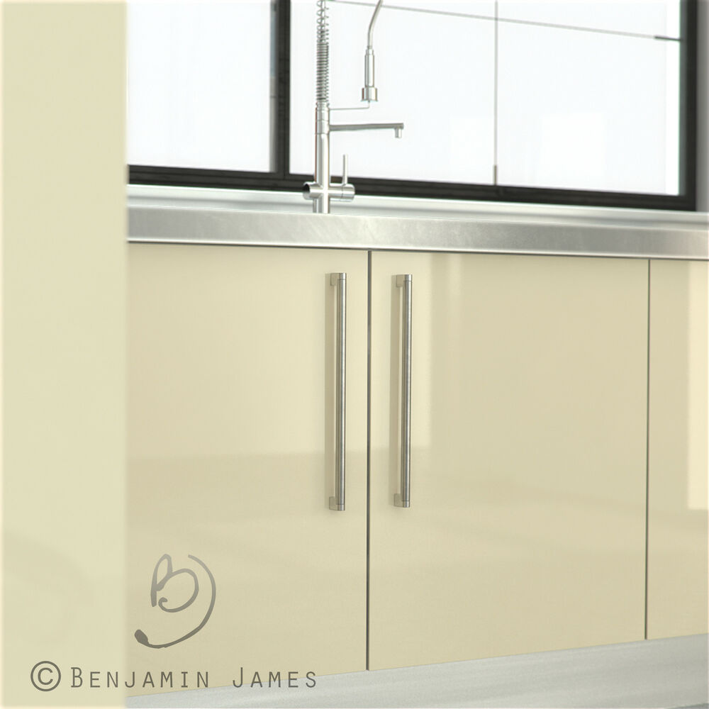 High gloss cream kitchen cabinet door fronts high for Kitchen doors