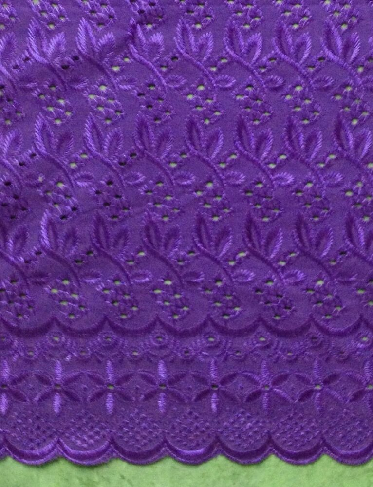 Purple leaf allover cotton eyelet embroidery fabric quot