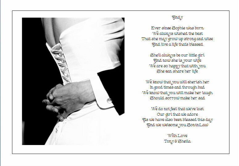Wedding Gifts For Daughter And Son In Law : ... Wedding Day Poem Gift - From Brides PARENTS TO SON IN LAW eBay