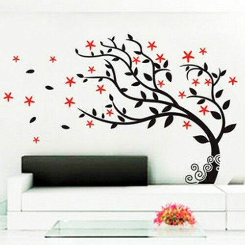 Large loving tree stars wall stickers decal removable art for Diy tree wall mural