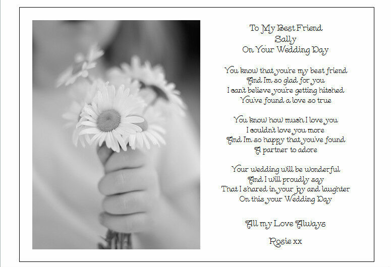 To my best friend on her wedding day unique personalised for Best day for a wedding