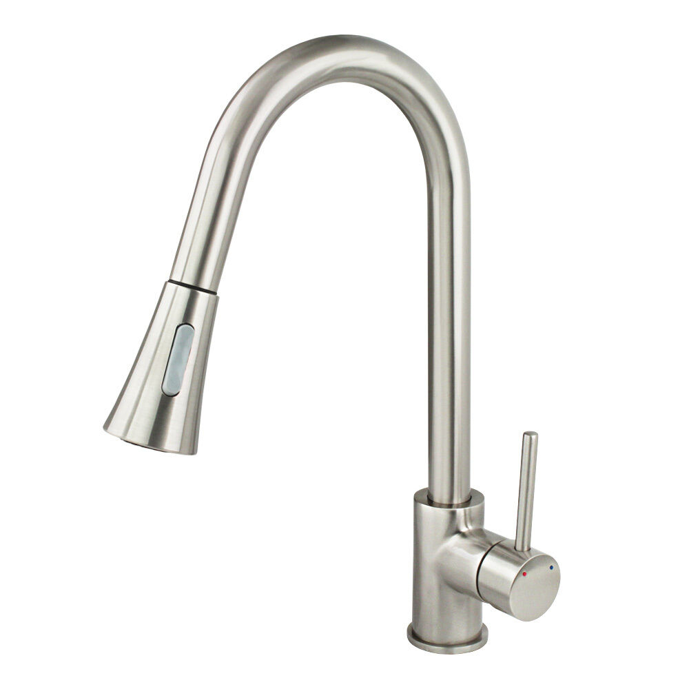 New Kitchen Faucet Brushed Nickel Pull Out Dual Spray Single Handle Sink Tap