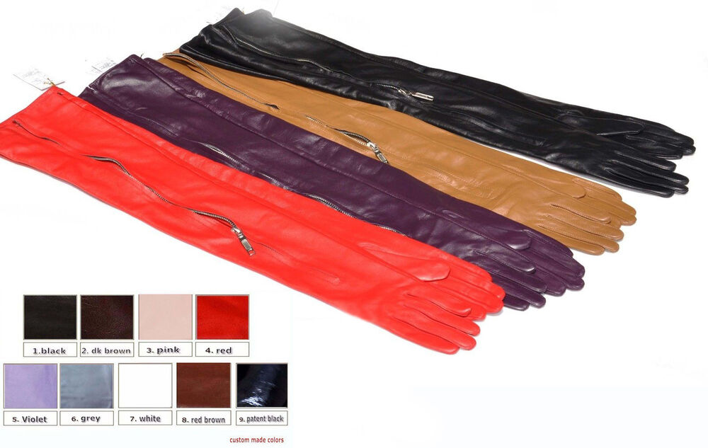 Leather driving gloves with zipper - To 80cm Long Invisible Mid Zipper Style Real Leather Gloves Ebay