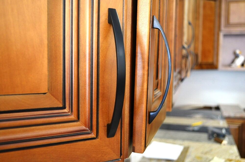 6 kitchen cabinet drawer door arch handle pull hardware for Matte black kitchen doors