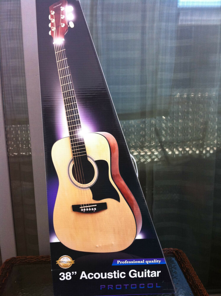 protocol 38 acoustic guitar 6 string brand new never opened ebay. Black Bedroom Furniture Sets. Home Design Ideas