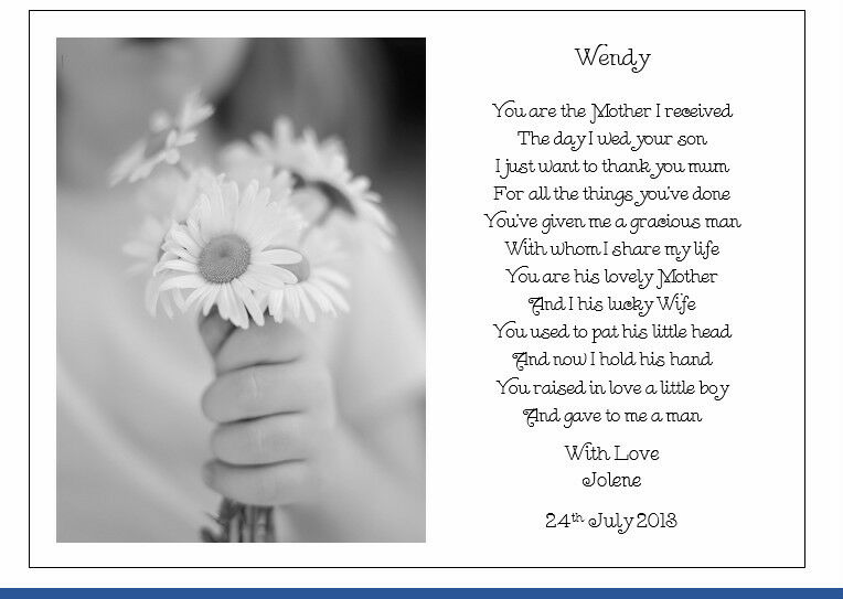 Personalised Wedding Day Poem Gift To The New Mother In