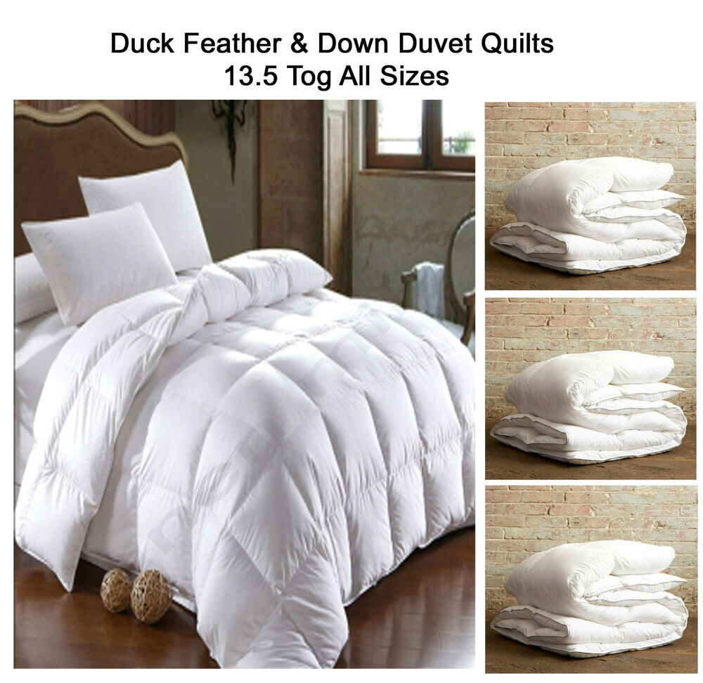 duck feather down duvet quilts 13 5 tog single double. Black Bedroom Furniture Sets. Home Design Ideas