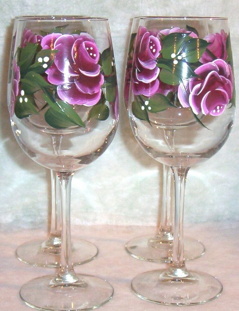 Hand painted pink rose wine glasses set of 4 ebay for Hand painted glassware