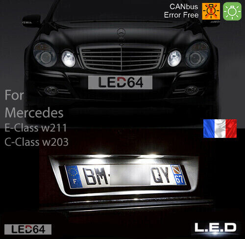 4 ampoules led blanc veilleuses clairage plaque mercedes classe e w211 c w203 ebay. Black Bedroom Furniture Sets. Home Design Ideas