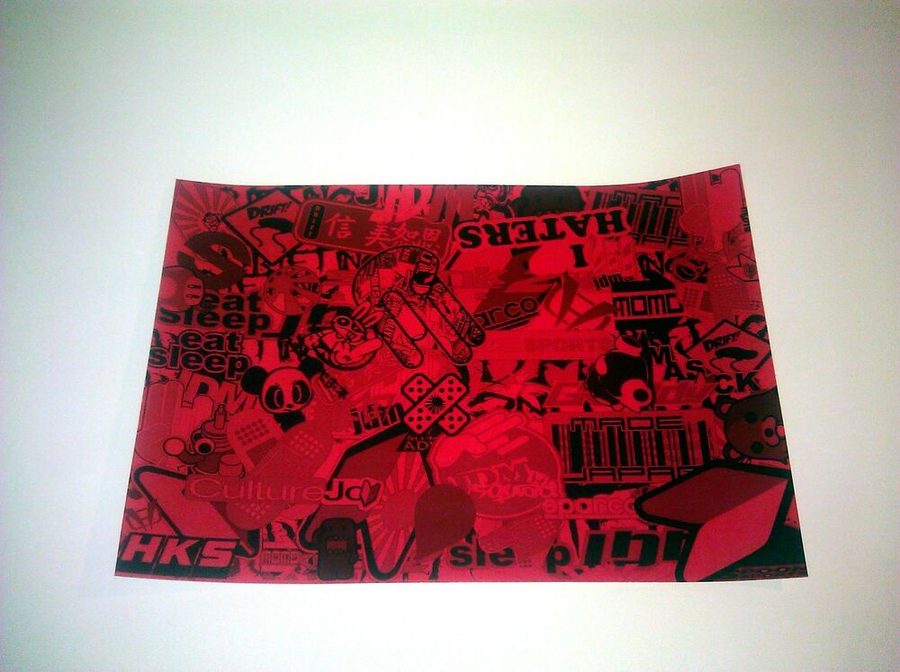 Sticker Bomb Bombing Jdm Decal Vinyl Sheet Sheets Red