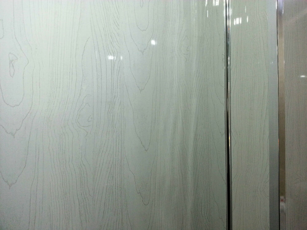 21 white wood wall panels white wood gloss effect panelling easy to fit ebay - Wood effect bathroom wallpaper ...