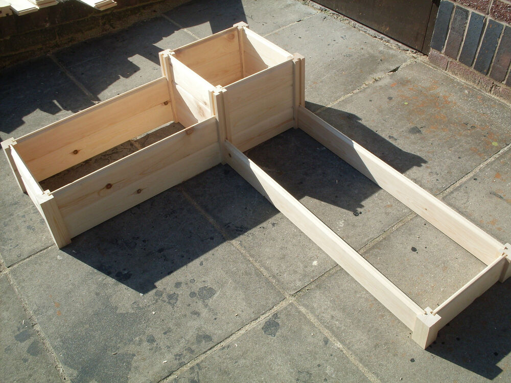 Corner Wooden Timber Raised Planter Bed Grow Your Own