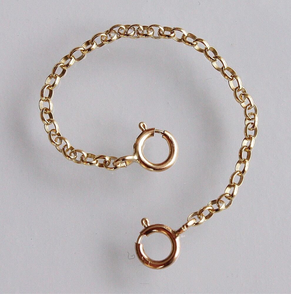 Strong 9ct yellow gold necklace necklet extender safety chain with 2