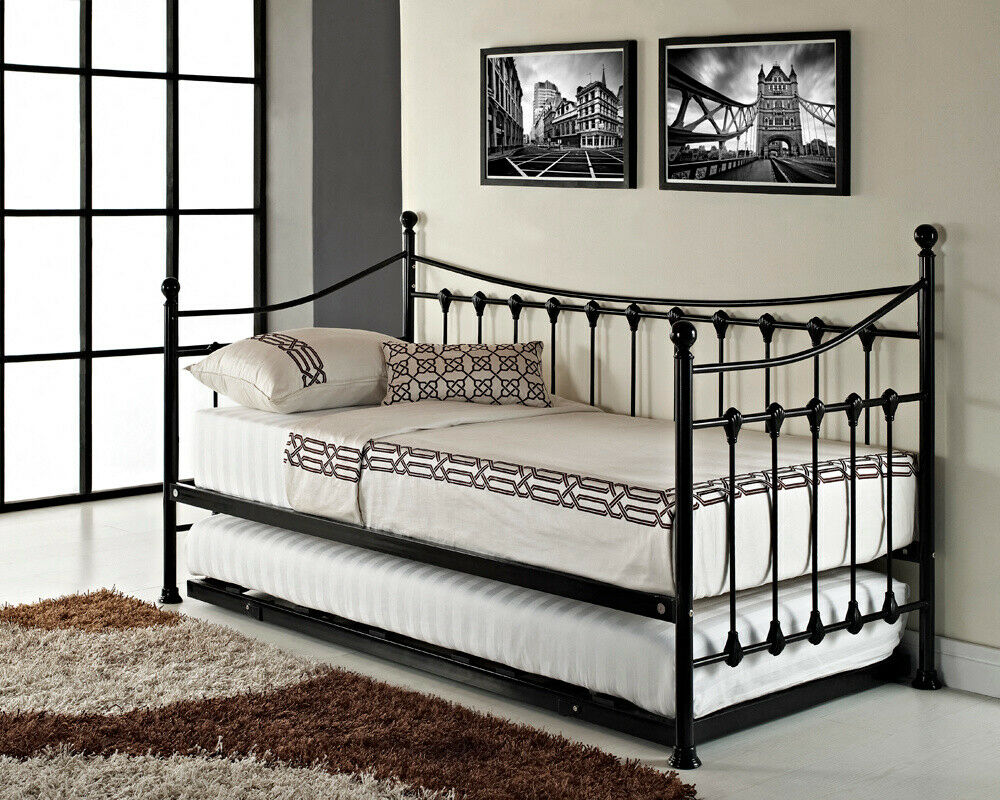Versailles french day bed and trundle black white metal frame with foam mattress ebay Bed and mattress for sale