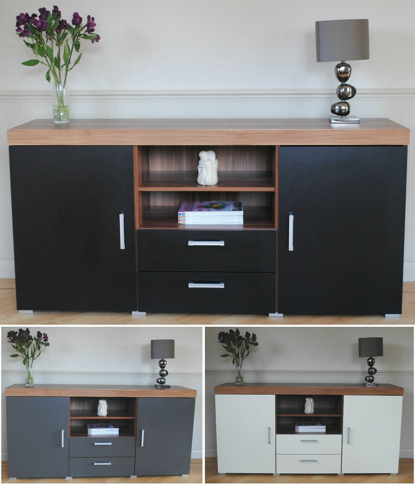 large 2 door 2 drawer sideboard black white grey cupboard tv cabinet furniture ebay. Black Bedroom Furniture Sets. Home Design Ideas