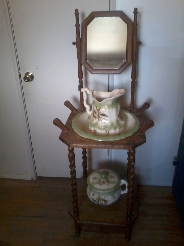 Antique Wood Wash Stand Pitcher Bowl Wash Basin Chamber