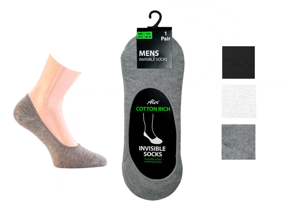 MENS INVISIBLE TRAINER SHOE SOCKS Cotton Blend LINERS ...